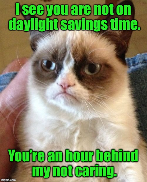 Grumpy Cat Meme | I see you are not on daylight savings time. You're an hour behind my not caring. | image tagged in memes,grumpy cat | made w/ Imgflip meme maker
