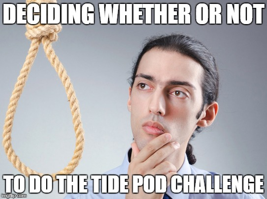 This is What it Looks Like to me | DECIDING WHETHER OR NOT TO DO THE TIDE POD CHALLENGE | image tagged in noose,memes,tide pod challenge,tide pods,decisions | made w/ Imgflip meme maker