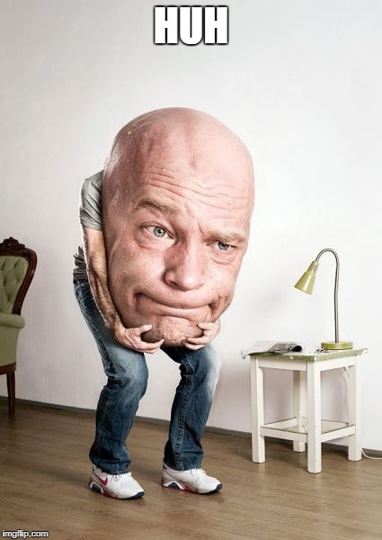 Bowling Ball Head Man | HUH | image tagged in bowling ball head man | made w/ Imgflip meme maker