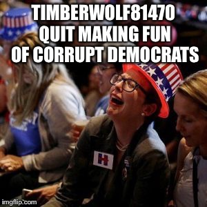 Just so ya know... I hate corrupt republicans too, but poking fun at hypocrite liberals is more fun | TIMBERWOLF81470 QUIT MAKING FUN OF CORRUPT DEMOCRATS | image tagged in crying liberal | made w/ Imgflip meme maker