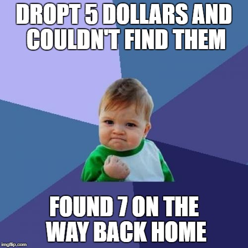 Success Kid Meme | DROPT 5 DOLLARS AND COULDN'T FIND THEM FOUND 7 ON THE WAY BACK HOME | image tagged in memes,success kid | made w/ Imgflip meme maker