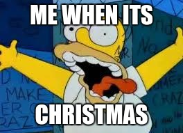 Homer Going Crazy | ME WHEN ITS CHRISTMAS | image tagged in homer going crazy | made w/ Imgflip meme maker