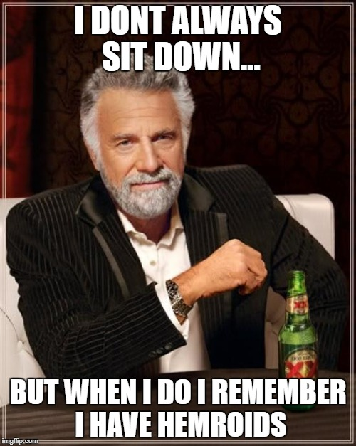 The Most Interesting Man In The World Meme | I DONT ALWAYS SIT DOWN... BUT WHEN I DO I REMEMBER I HAVE HEMROIDS | image tagged in memes,the most interesting man in the world | made w/ Imgflip meme maker
