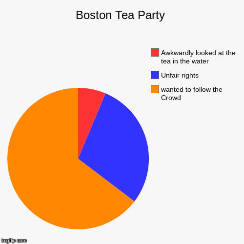 Boston Tea Party | wanted to follow the Crowd, Unfair rights, Awkwardly looked at the tea in the water | image tagged in funny,pie charts,boston tea party | made w/ Imgflip chart maker
