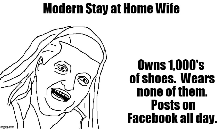 Modern Stay at Home Wife | Modern Stay at Home Wife Owns 1,000's of shoes.  Wears none of them.  Posts on Facebook all day. | image tagged in housewife,stay at home mom | made w/ Imgflip meme maker
