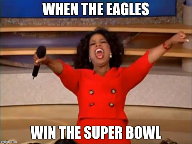 Oprah You Get A Meme | WHEN THE EAGLES WIN THE SUPER BOWL | image tagged in memes,oprah you get a | made w/ Imgflip meme maker