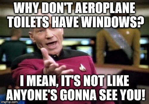 I mean, really? | WHY DON'T AEROPLANE TOILETS HAVE WINDOWS? I MEAN, IT'S NOT LIKE ANYONE'S GONNA SEE YOU! | image tagged in memes,picard wtf,aeroplane,toilets,windows | made w/ Imgflip meme maker