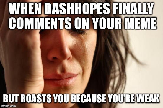 First World Problems Meme | WHEN DASHHOPES FINALLY COMMENTS ON YOUR MEME BUT ROASTS YOU BECAUSE YOU'RE WEAK | image tagged in memes,first world problems | made w/ Imgflip meme maker