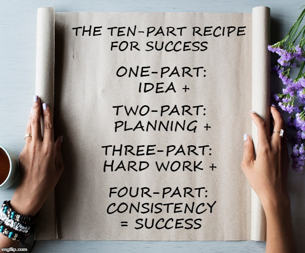 The Ten-Part Recipe |  THE TEN-PART RECIPE FOR SUCCESS; ONE-PART: IDEA +; TWO-PART: PLANNING +; THREE-PART: HARD WORK +; FOUR-PART: CONSISTENCY = SUCCESS | image tagged in life,goals,hard work,the grind,motivation,inspirational quote | made w/ Imgflip meme maker