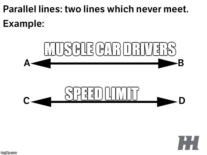 Muscle Car Drives vs speed limit | MUSCLE CAR DRIVERS SPEED LIMIT | image tagged in car memes,car meme | made w/ Imgflip meme maker