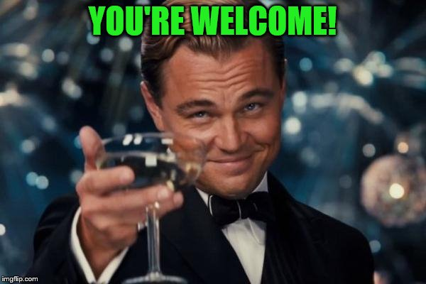 Leonardo Dicaprio Cheers Meme | YOU'RE WELCOME! | image tagged in memes,leonardo dicaprio cheers | made w/ Imgflip meme maker