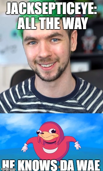 Jacksepticeye knows da wae | JACKSEPTICEYE: ALL THE WAY HE KNOWS DA WAE | image tagged in jacksepticeye,ugandan knuckles,do you know da wae | made w/ Imgflip meme maker