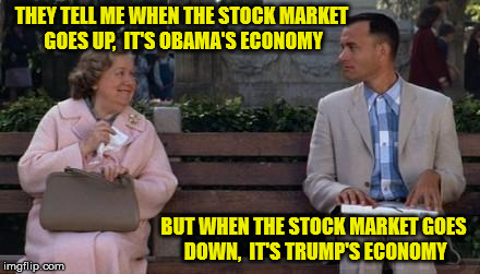 ...And Just Like That | THEY TELL ME WHEN THE STOCK MARKET GOES UP,  IT'S OBAMA'S ECONOMY BUT WHEN THE STOCK MARKET GOES DOWN,  IT'S TRUMP'S ECONOMY | image tagged in forrest gump,memes,stock market,barack obama,donald trump,economy | made w/ Imgflip meme maker