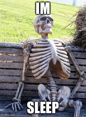 Waiting Skeleton Meme | IM SLEEP | image tagged in memes,waiting skeleton | made w/ Imgflip meme maker