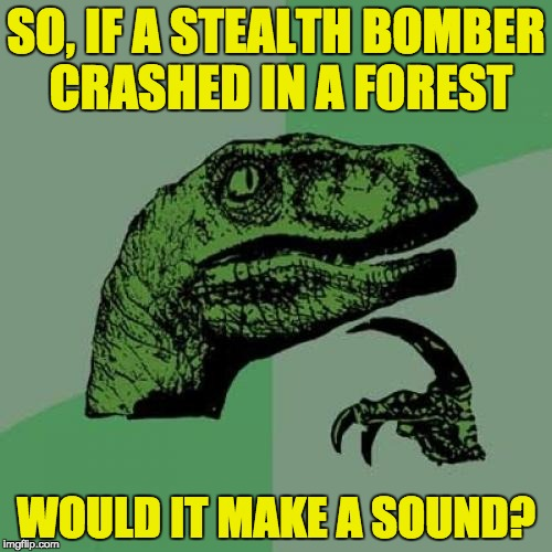 Philosoraptor Meme | SO, IF A STEALTH BOMBER CRASHED IN A FOREST WOULD IT MAKE A SOUND? | image tagged in memes,philosoraptor | made w/ Imgflip meme maker