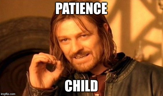 One Does Not Simply Meme | PATIENCE CHILD | image tagged in memes,one does not simply | made w/ Imgflip meme maker