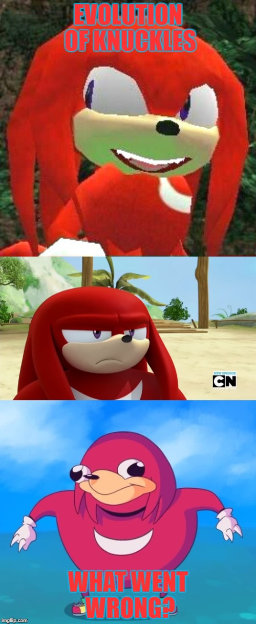 Knuckles evolution | EVOLUTION OF KNUCKLES WHAT WENT WRONG? | image tagged in what is this | made w/ Imgflip meme maker