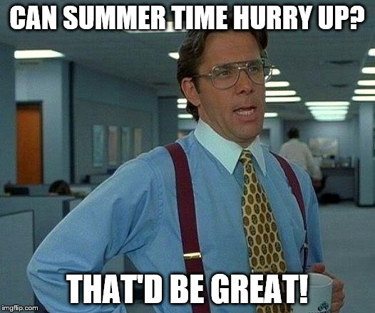 That Would Be Great Meme | CAN SUMMER TIME HURRY UP? THAT'D BE GREAT! | image tagged in memes,that would be great | made w/ Imgflip meme maker