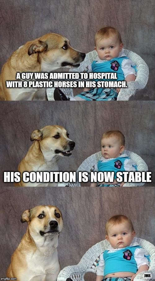 Oh Geez. lol | A GUY WAS ADMITTED TO HOSPITAL WITH 8 PLASTIC HORSES IN HIS STOMACH. JMR HIS CONDITION IS NOW STABLE | image tagged in dad joke dog,horses,hospital,baby | made w/ Imgflip meme maker