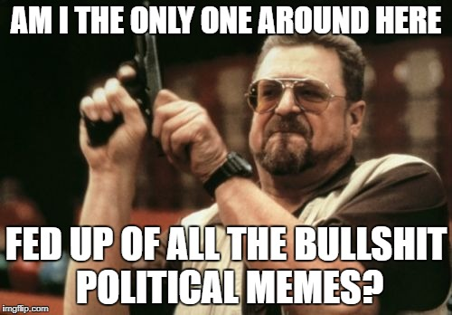 Enough is enough.  Take it the hell back to Reddit. | AM I THE ONLY ONE AROUND HERE FED UP OF ALL THE BULLSHIT POLITICAL MEMES? | image tagged in hillary,trump,democrats,republicans,politics,enough is enough | made w/ Imgflip meme maker