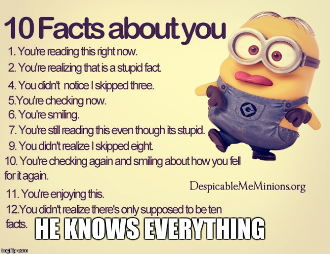 how | HE KNOWS EVERYTHING | image tagged in minions | made w/ Imgflip meme maker