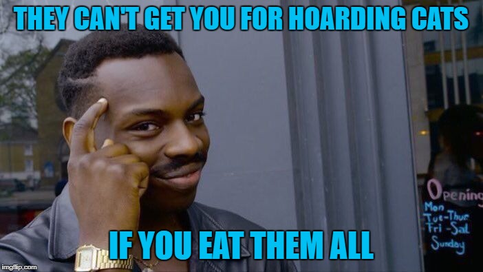 Roll Safe Think About It Meme | THEY CAN'T GET YOU FOR HOARDING CATS IF YOU EAT THEM ALL | image tagged in memes,roll safe think about it | made w/ Imgflip meme maker
