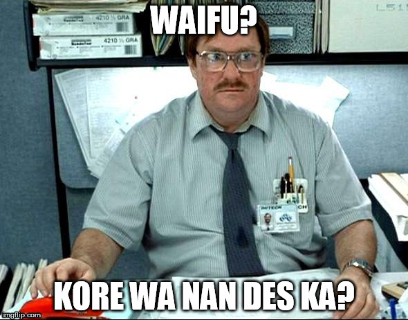 I know it's not English, this is for weebs  ;-)   | WAIFU? KORE WA NAN DES KA? | image tagged in memes,i was told there would be,weeaboo | made w/ Imgflip meme maker