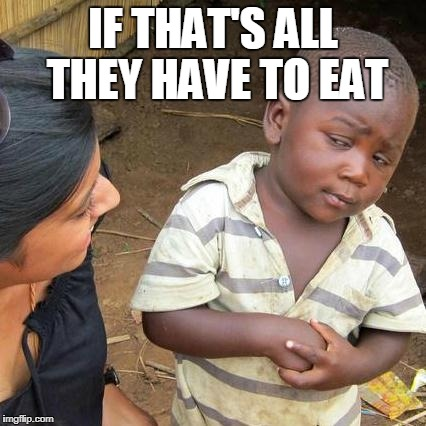 Third World Skeptical Kid Meme | IF THAT'S ALL THEY HAVE TO EAT | image tagged in memes,third world skeptical kid | made w/ Imgflip meme maker