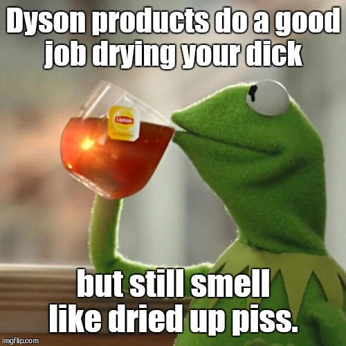 But Thats None Of My Business Meme | Dyson products do a good job drying your dick but still smell like dried up piss. | image tagged in memes,but thats none of my business,kermit the frog | made w/ Imgflip meme maker