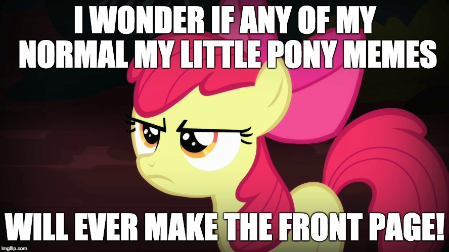 I honestly kind of spread it around, and it reached the front page, something that I wouldn't do for my normal memes! | I WONDER IF ANY OF MY NORMAL MY LITTLE PONY MEMES WILL EVER MAKE THE FRONT PAGE! | image tagged in angry applebloom,memes,xanderbrony,front page | made w/ Imgflip meme maker