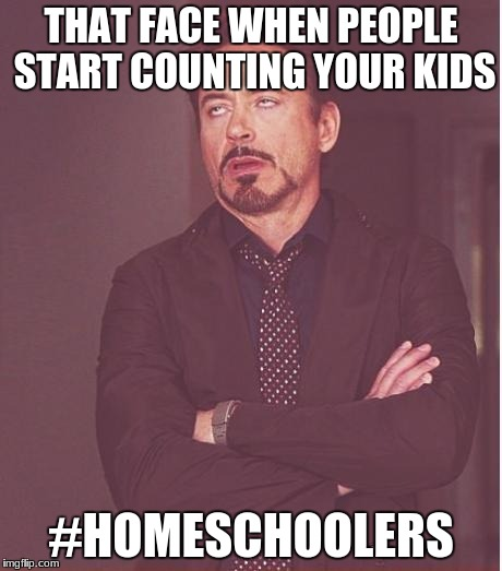 Face You Make Robert Downey Jr Meme | THAT FACE WHEN PEOPLE START COUNTING YOUR KIDS #HOMESCHOOLERS | image tagged in memes,face you make robert downey jr | made w/ Imgflip meme maker