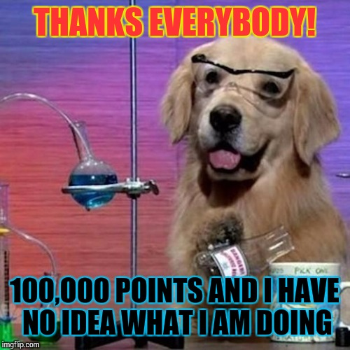 I Have No Idea What I Am Doing Dog Meme | THANKS EVERYBODY! 100,O00 POINTS AND I HAVE NO IDEA WHAT I AM DOING | image tagged in memes,i have no idea what i am doing dog | made w/ Imgflip meme maker