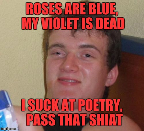 10 Guy Meme | ROSES ARE BLUE, MY VIOLET IS DEAD I SUCK AT POETRY,  PASS THAT SHIAT | image tagged in memes,10 guy | made w/ Imgflip meme maker