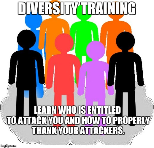 Diversity | DIVERSITY TRAINING LEARN WHO IS ENTITLED TO ATTACK YOU AND HOW TO PROPERLY THANK YOUR ATTACKERS. | image tagged in diversity | made w/ Imgflip meme maker