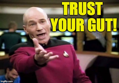 Picard Wtf Meme | TRUST YOUR GUT! | image tagged in memes,picard wtf | made w/ Imgflip meme maker