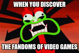 this is why aku's eyes are on fire all the time | WHEN YOU DISCOVER THE FANDOMS OF VIDEO GAMES | image tagged in aku,memes,undertale,cuphead,fandom,bendy and the ink machine | made w/ Imgflip meme maker
