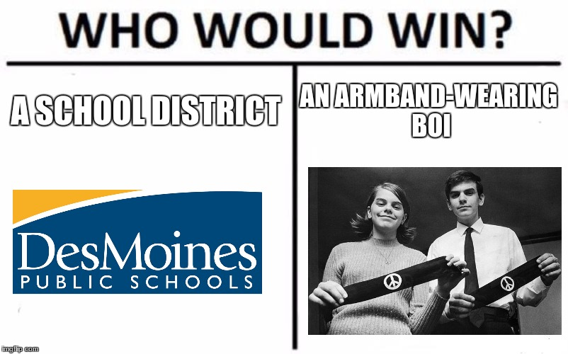Who Would Win? Meme | A SCHOOL DISTRICT AN ARMBAND-WEARING BOI | image tagged in memes,who would win | made w/ Imgflip meme maker