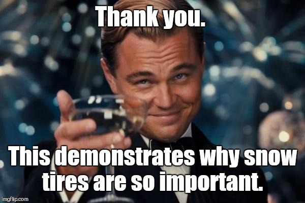 Leonardo Dicaprio Cheers Meme | Thank you. This demonstrates why snow tires are so important. | image tagged in memes,leonardo dicaprio cheers | made w/ Imgflip meme maker