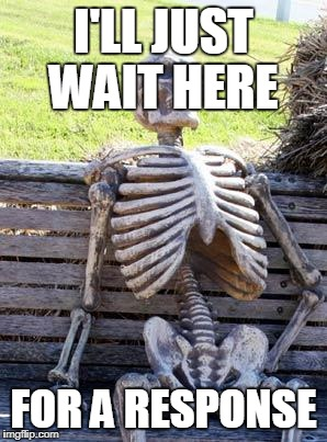 Waiting Skeleton Meme | I'LL JUST WAIT HERE FOR A RESPONSE | image tagged in memes,waiting skeleton | made w/ Imgflip meme maker