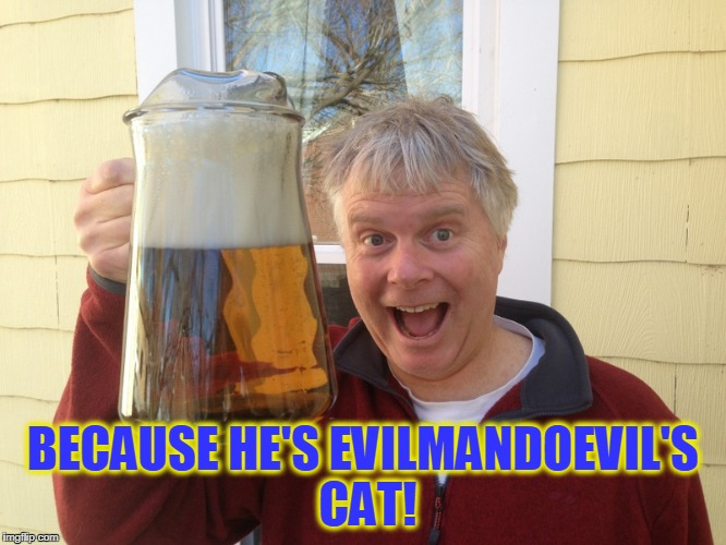 BECAUSE HE'S EVILMANDOEVIL'S CAT! | made w/ Imgflip meme maker