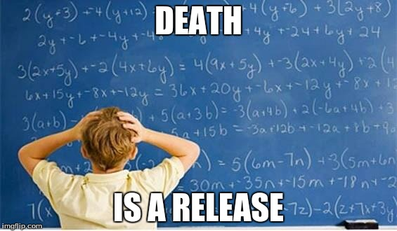 Homework | DEATH IS A RELEASE | image tagged in maths | made w/ Imgflip meme maker