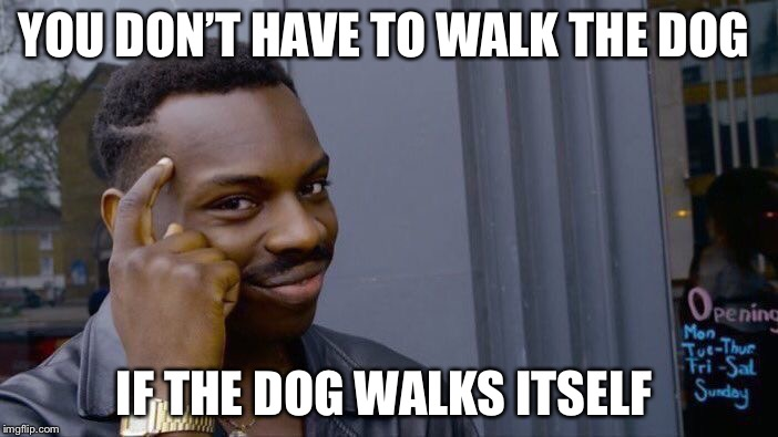 Roll Safe Think About It Meme | YOU DON'T HAVE TO WALK THE DOG IF THE DOG WALKS ITSELF | image tagged in memes,roll safe think about it | made w/ Imgflip meme maker