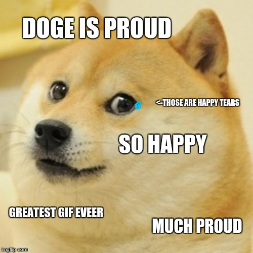 Doge Meme | DOGE IS PROUD <-THOSE ARE HAPPY TEARS SO HAPPY GREATEST GIF EVEER MUCH PROUD | image tagged in memes,doge | made w/ Imgflip meme maker