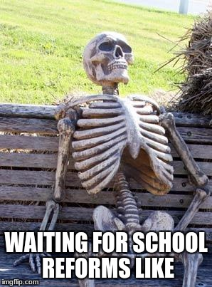 Waiting Skeleton Meme | WAITING FOR SCHOOL REFORMS LIKE | image tagged in memes,waiting skeleton | made w/ Imgflip meme maker
