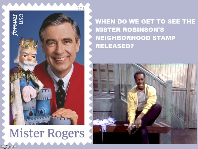 Mister Rogers Stamp | image tagged in mister rogers,eddie murphy,saturday night live,snl,postage stamps,usps | made w/ Imgflip meme maker
