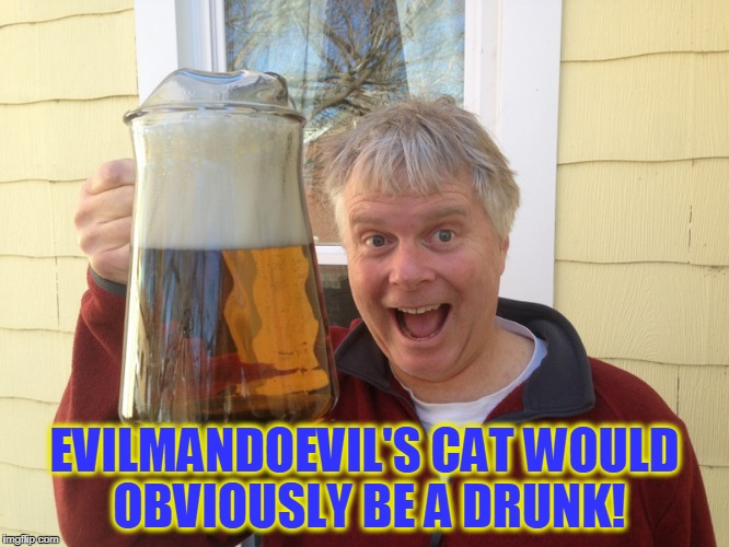 EVILMANDOEVIL'S CAT WOULD OBVIOUSLY BE A DRUNK! | made w/ Imgflip meme maker