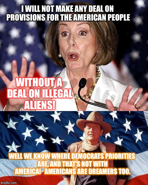 I WILL NOT MAKE ANY DEAL ON PROVISIONS FOR THE AMERICAN PEOPLE WELL WE KNOW WHERE DEMOCRATS PRIORITIES ARE, AND THAT'S NOT WITH AMERICA!   A | image tagged in nancy pelosi | made w/ Imgflip meme maker
