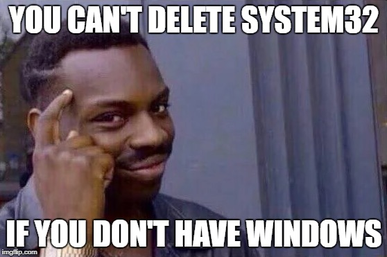 You cant - if you don't  | YOU CAN'T DELETE SYSTEM32 IF YOU DON'T HAVE WINDOWS | image tagged in you cant - if you don't | made w/ Imgflip meme maker