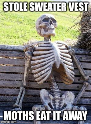 Waiting Skeleton Meme | STOLE SWEATER VEST MOTHS EAT IT AWAY | image tagged in memes,waiting skeleton | made w/ Imgflip meme maker