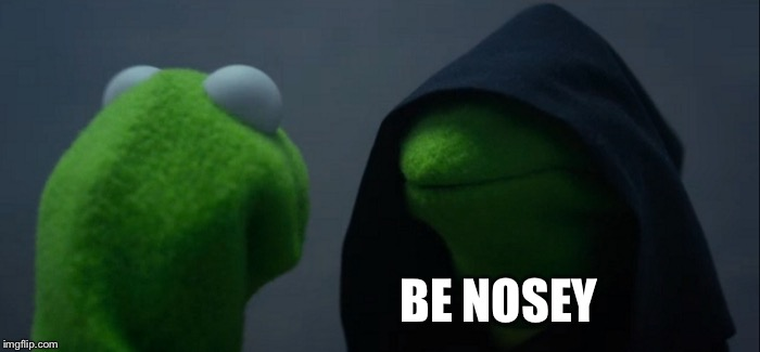 Evil Kermit Meme | BE NOSEY | image tagged in memes,evil kermit | made w/ Imgflip meme maker